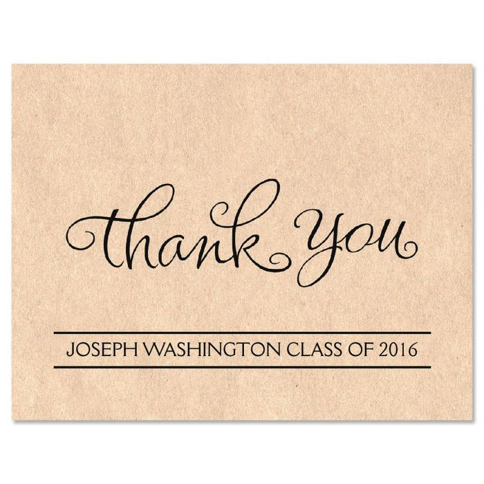 Kraft Graduation Personalized Thank You Note Cards Current Catalog - Thank You Note