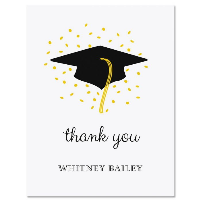 Confetti and Cap Graduation Personalized Thank You Cards Current - thank you for graduation