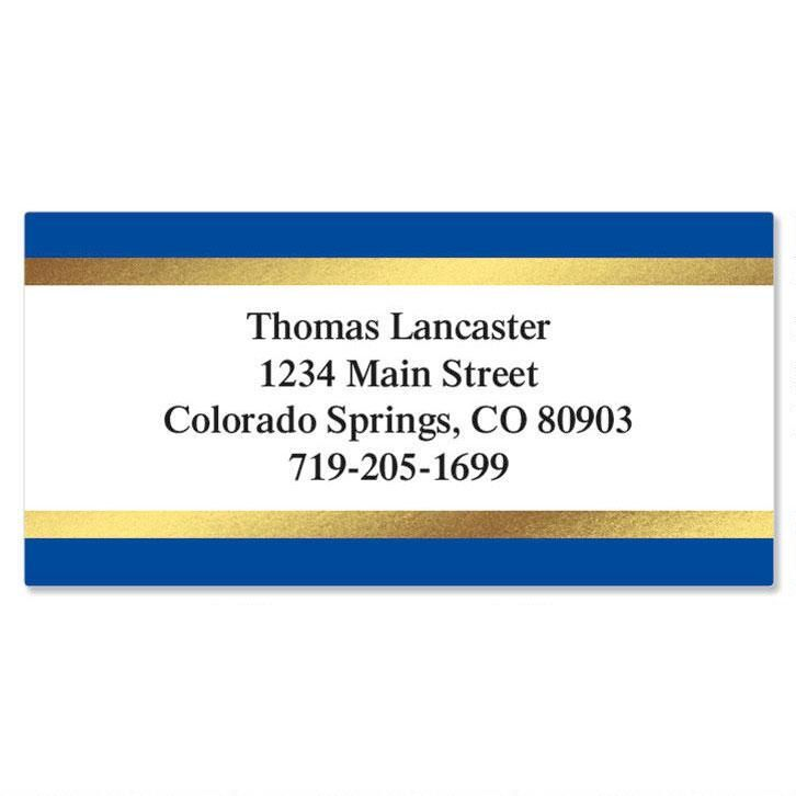 Blue and Gold Foil Border Address Labels Current Catalog - Address Label