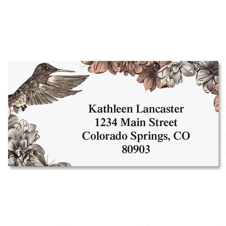 Hummingbird Garden Border Address Labels Current Catalog - Address Label