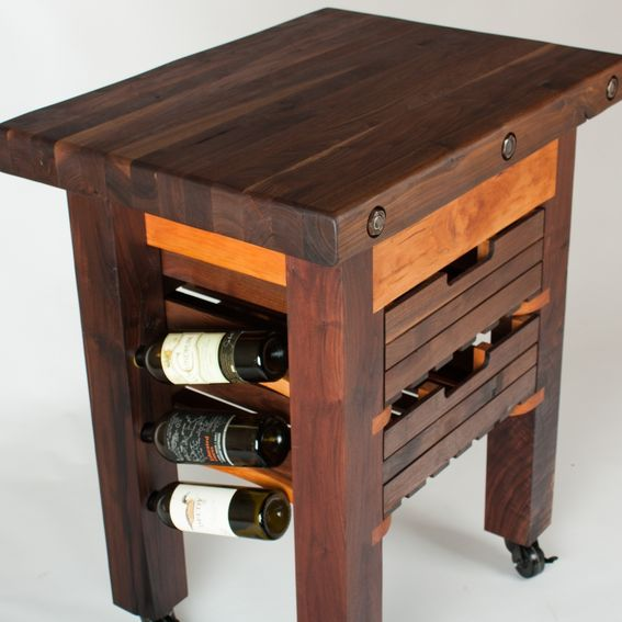Kitchen Island With Locking Casters Hand Made Walnut And Cherry Butcher Block Island Wine Rack