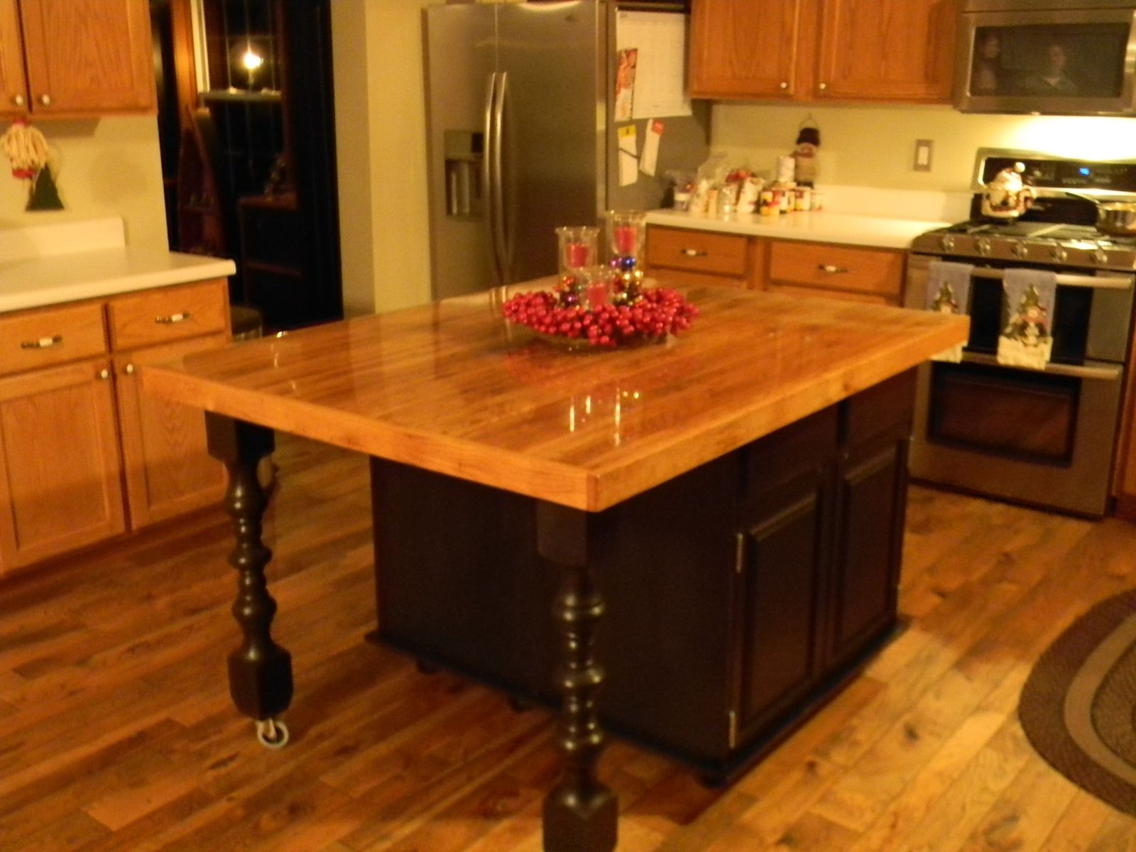 Hand Crafted Rustic Barn Wood Kitchen Island By Black