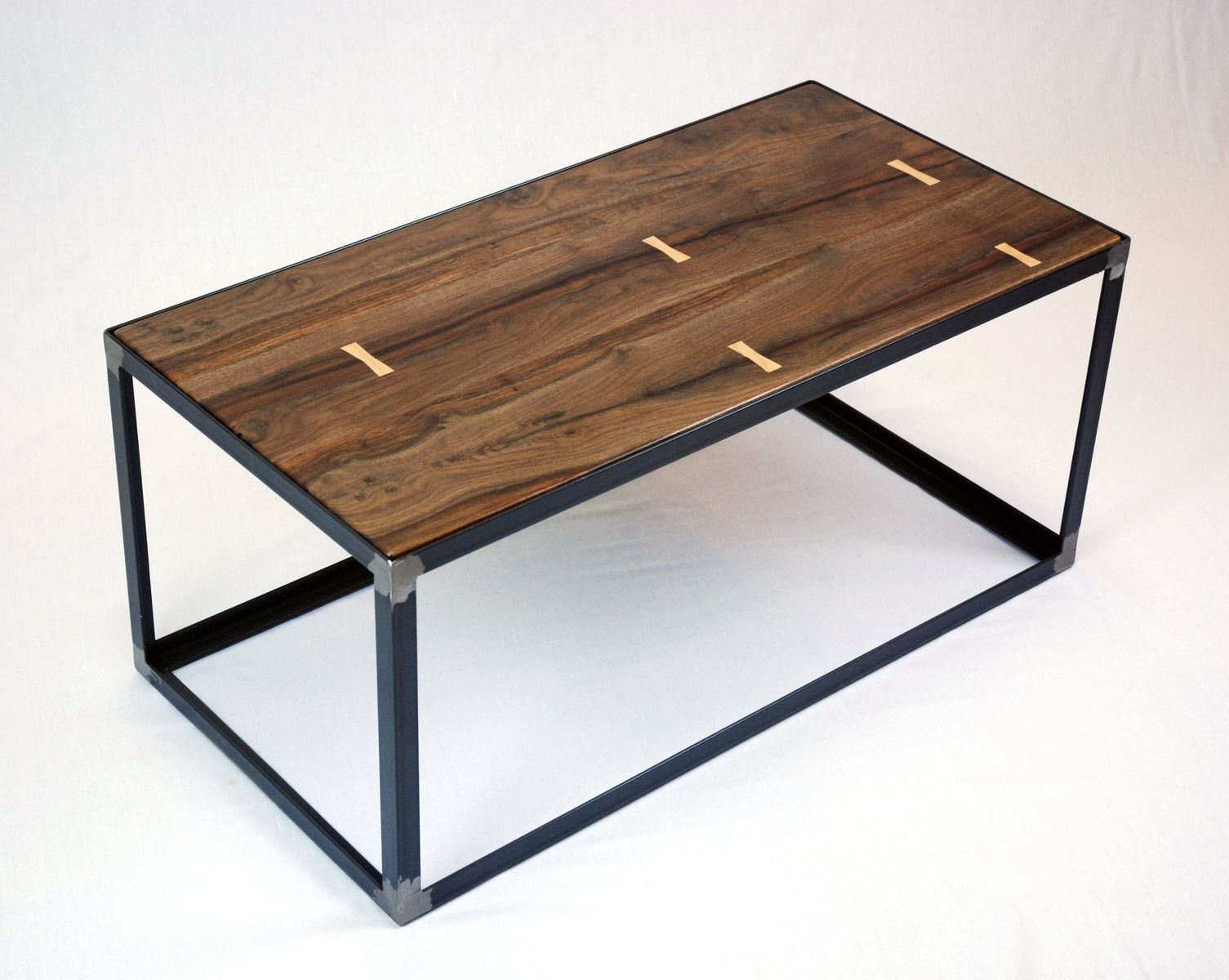 Industrial Coffee Table Hand Crafted Salvaged Black Walnut Industrial Coffee Table
