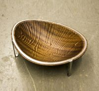 Hand Made Decorative Bowl, Sapele Wood And Stainless Steel ...