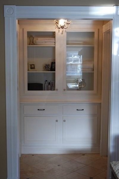 Bathroom Cabinet Corner Wooden Hand Crafted Built-in Linen Closet By Larue Woodworking