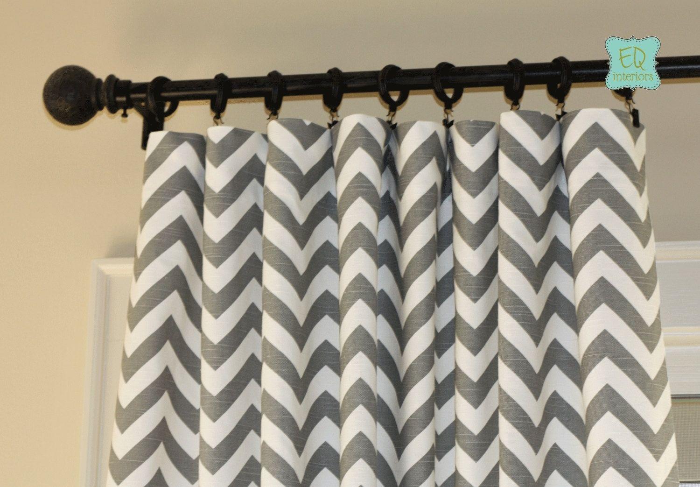 Designer curtain panels custom made custom designer curtain panels ash gray grey zig zag chevron
