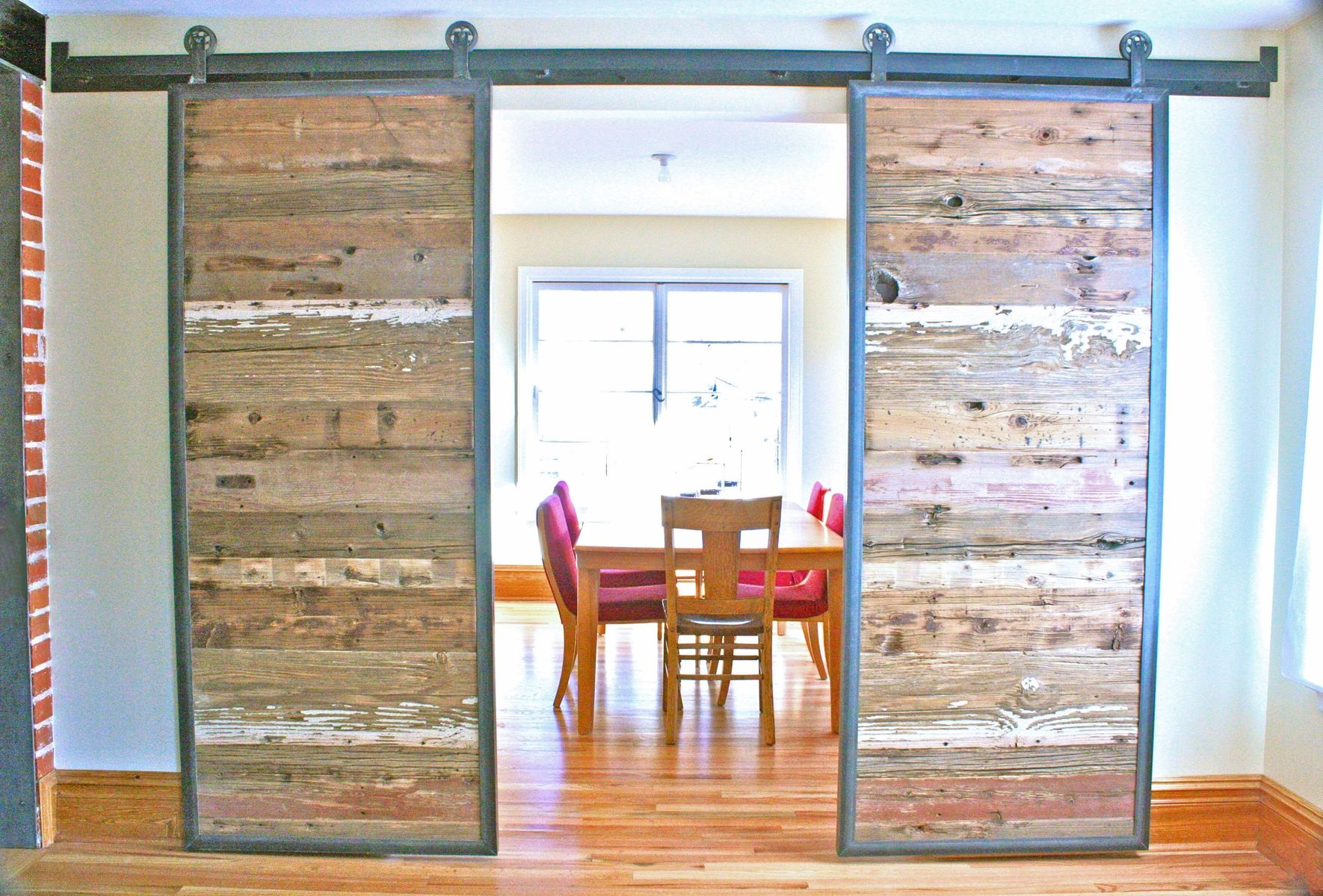 Handmade Industrial Reclaimed Barn Doors On Steel Track By