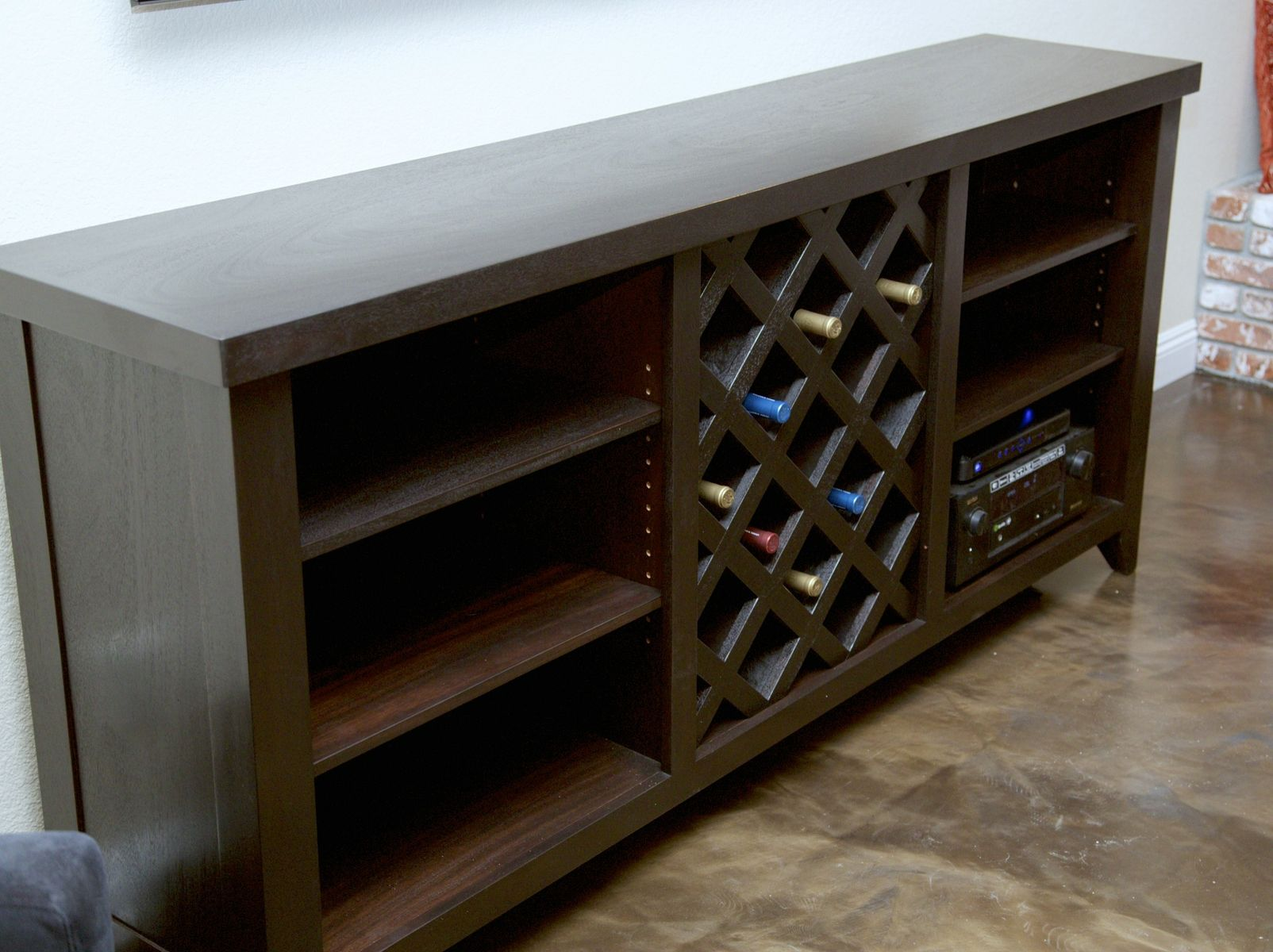 Media Rack Hand Made Media Center With Wine Rack By The Finest Cut
