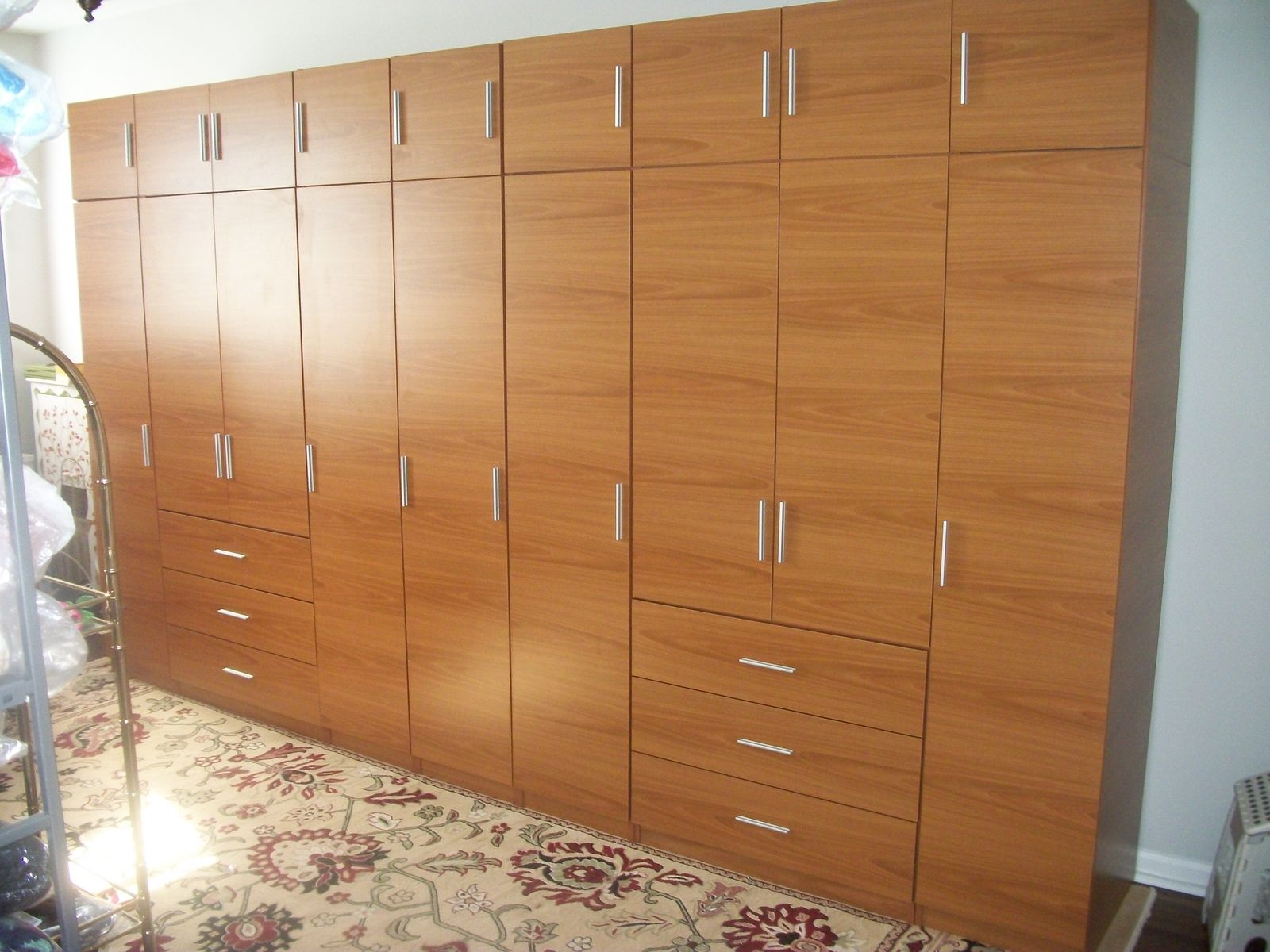 Wall To Wall Wardrobes Handmade Honey Maple Matte Finish Complete Wall Wardrobe