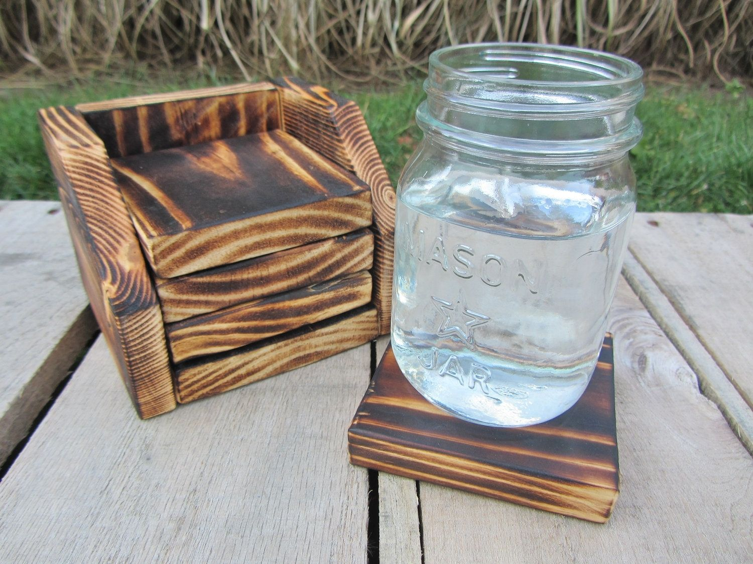 Wood Coaster Holder Hand Crafted Coaster Set Of 4 With Holder Made From