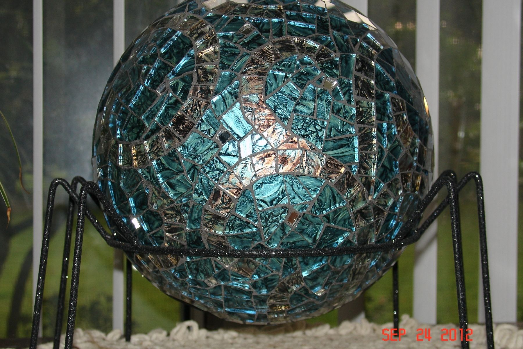 Mid Century Modern Patio Hand Made Van Gogh Stained Glass Mosaic Gazing Ball Made