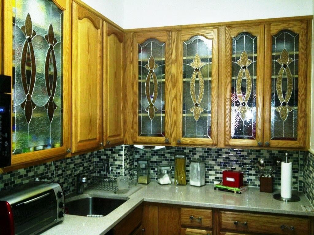 Glass For Kitchen Cabinets Inserts Hand Crafted Elegant Stained Glass Custom Kitchen Cabinet