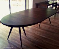 Custom Solid Walnut Tripod Oval Expanding Dining Table by ...
