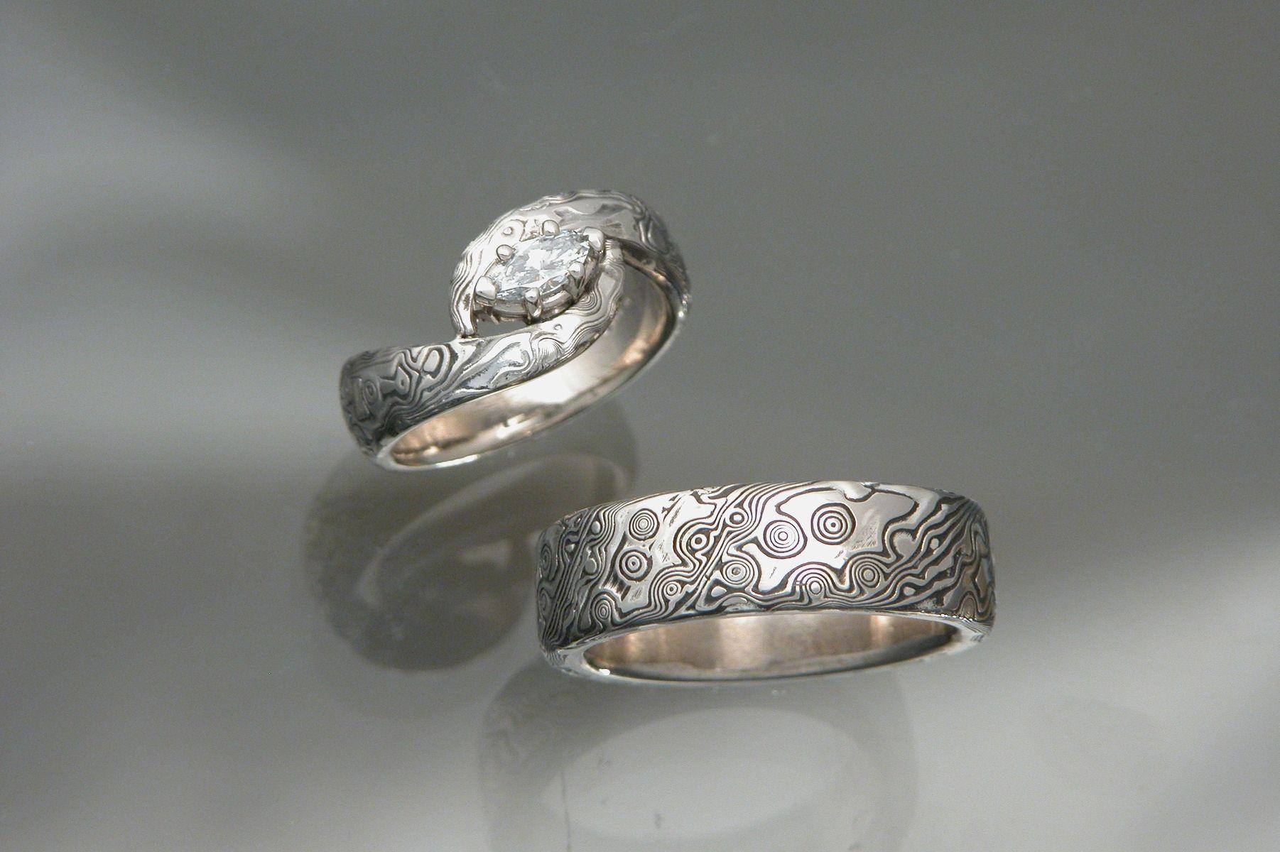 mokume gane wedding rings palladium wedding bands