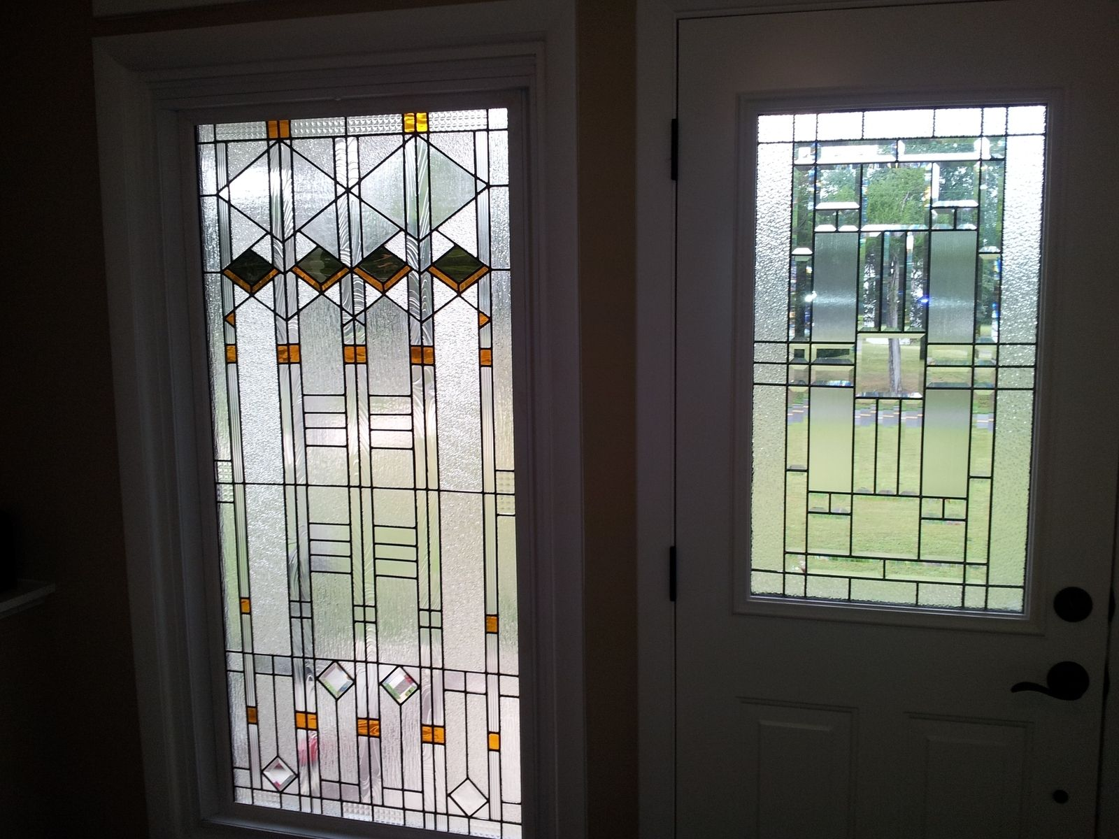 Custom made stained glass window elegant arts and crafts style w