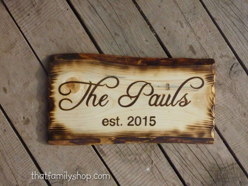 Buy Handmade Rustic Name Sign With Burned Edges Made To