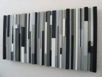 Custom Modern Wood Wall Art Sculpture Black White Greys ...