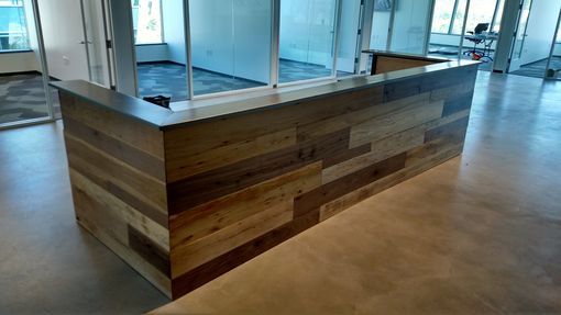 Hand Made Contemporary Reclaimed Wood And Steel Reception