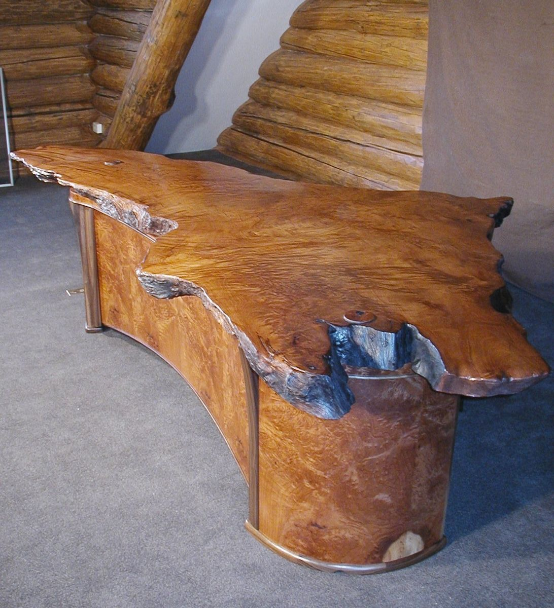 2 Person Executive Desk Handmade Live Edge 2 Person Redwood Burl Executive Desk By