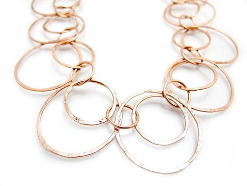 Hand Crafted Gold Loop Necklace Long Gold Chain Long