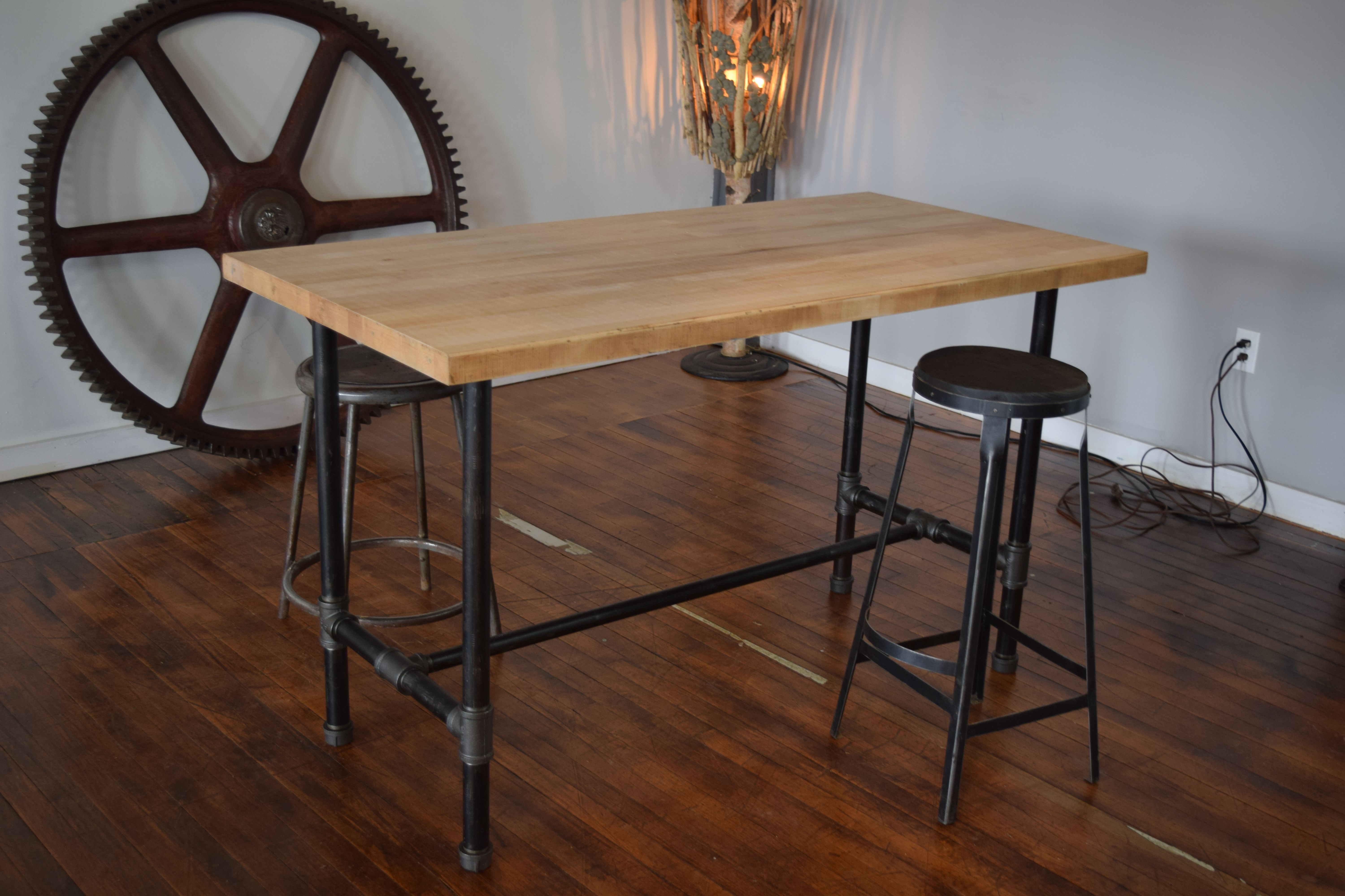 Kitchen Island Table Legs Hand Crafted Reclaimed Maple Butcher Block Kitchen Island