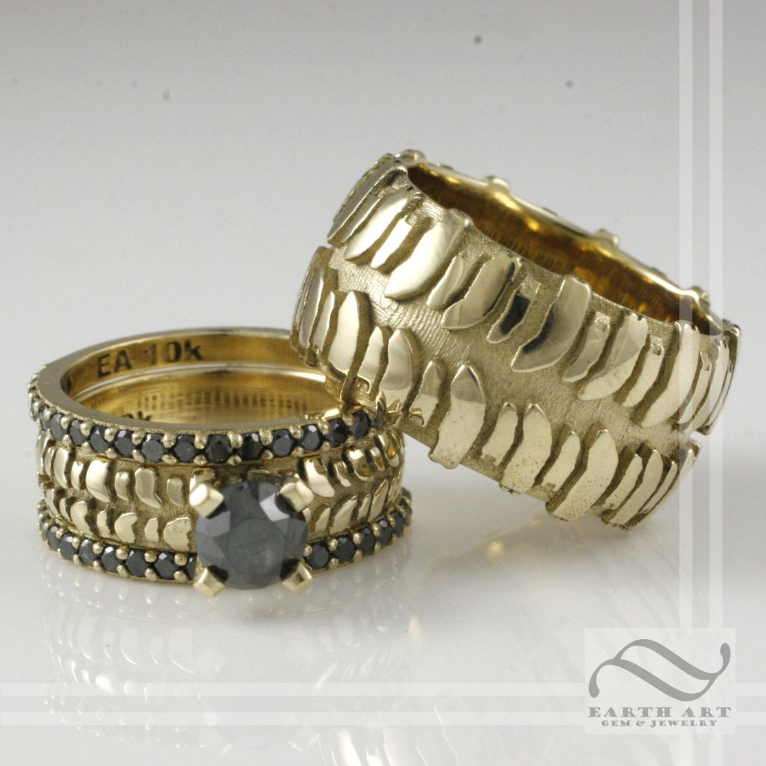 earthartgemandjewelry mud tire wedding ring Tire Tread Set In Gold With Black Diamonds Tire Rings by