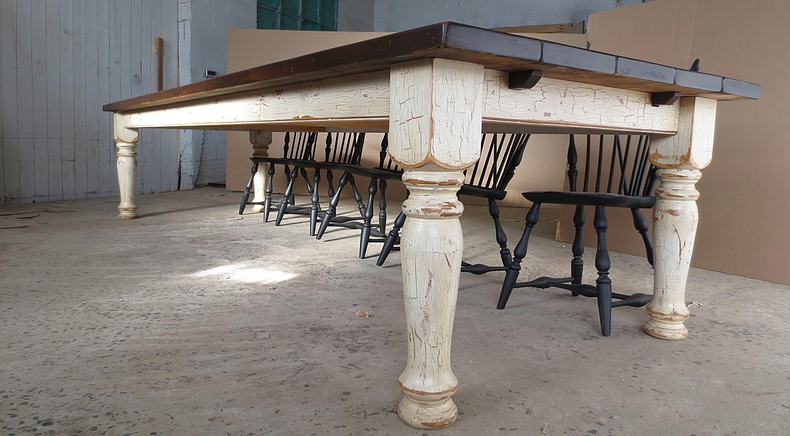 Hand Crafted 1239 Pine Farm Table With Crackle Finish By