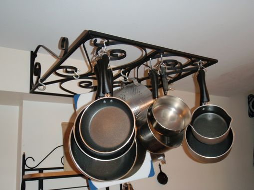 Handmade Wrought Iron Wall Mounted Pot Rack By Wrought