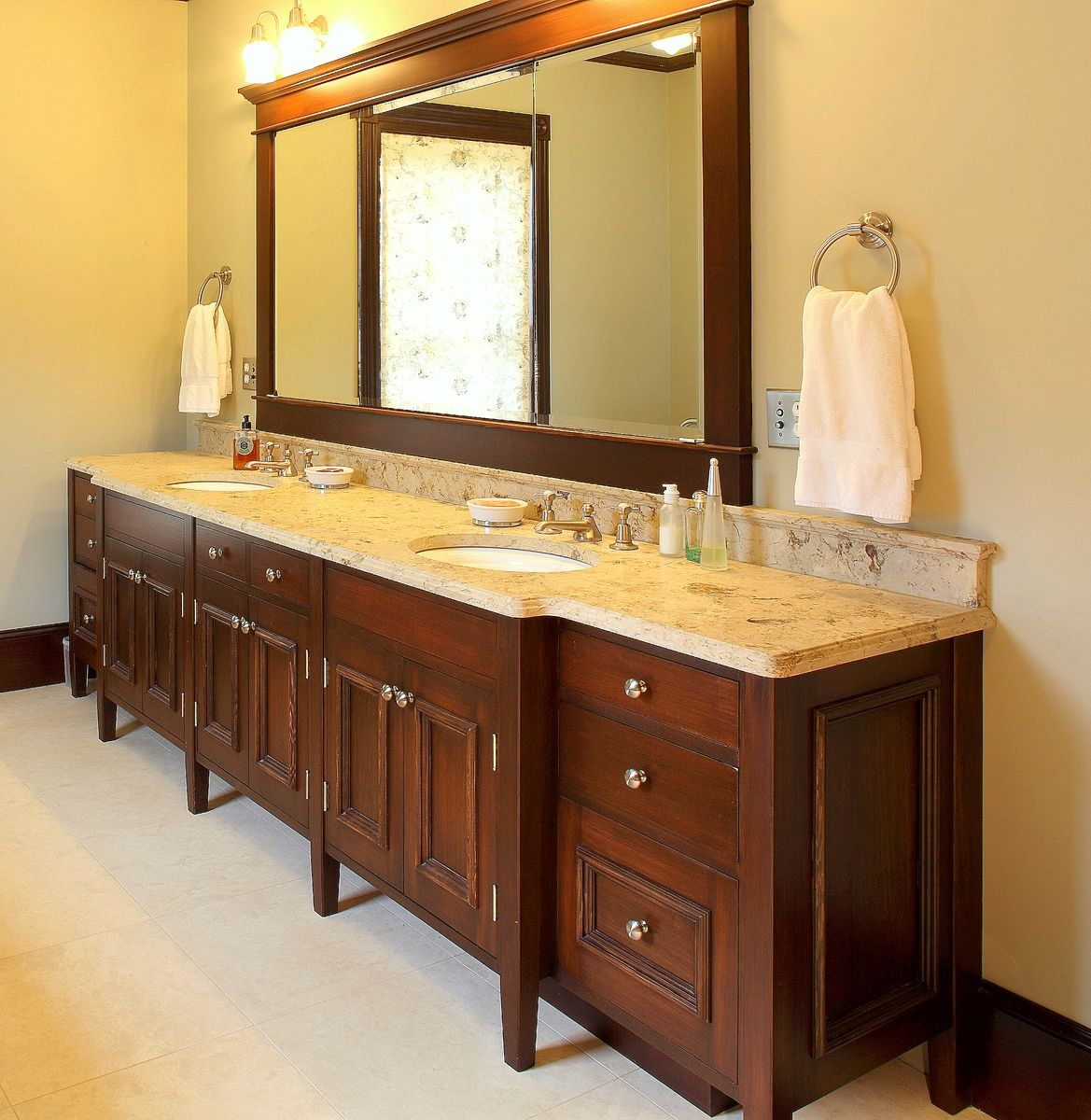 Two Sink Vanities Hand Made Double Sink Bath Vanity By Benchmark Woodworks