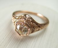 Buy a Hand Crafted Filigree Antique Vintage Engagement ...