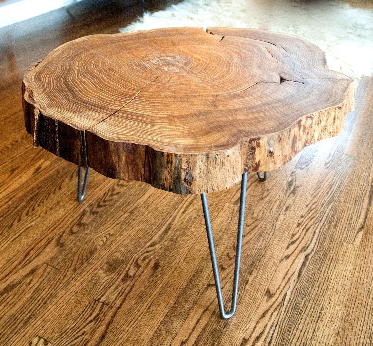 Round Wood Coffee Table With Metal Legs Custom Natural Live Edge Round Slab Side Table Coffee