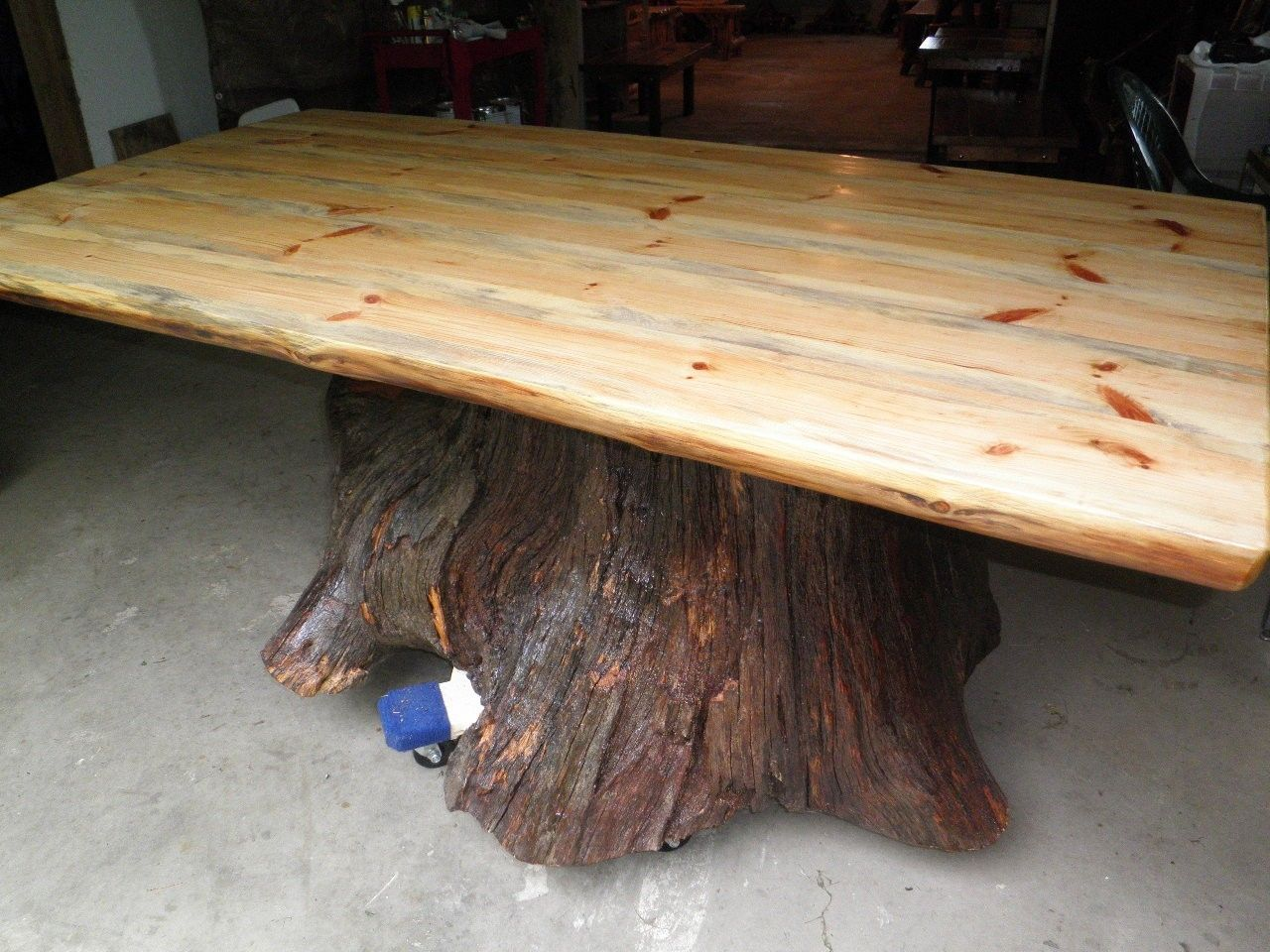 Custom made real oak tree trunk kitchen dining table one of our current projects