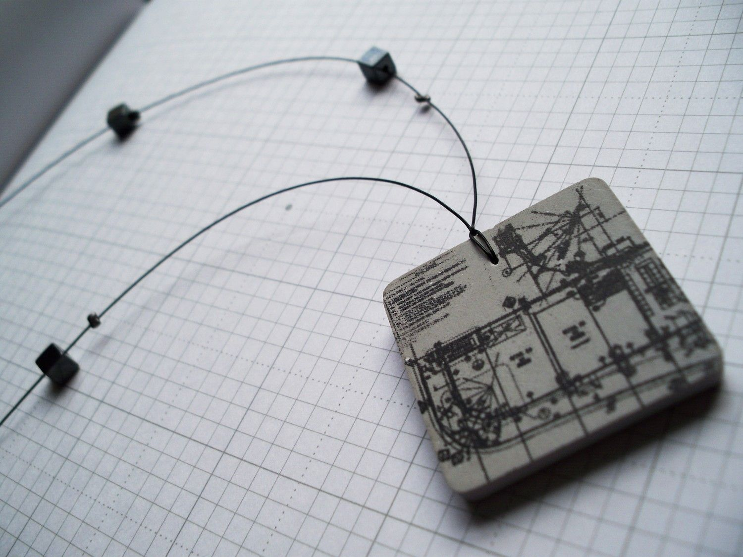 Architecture Gifts For Him Handmade Architectural Plan Concrete Necklace By Berezki