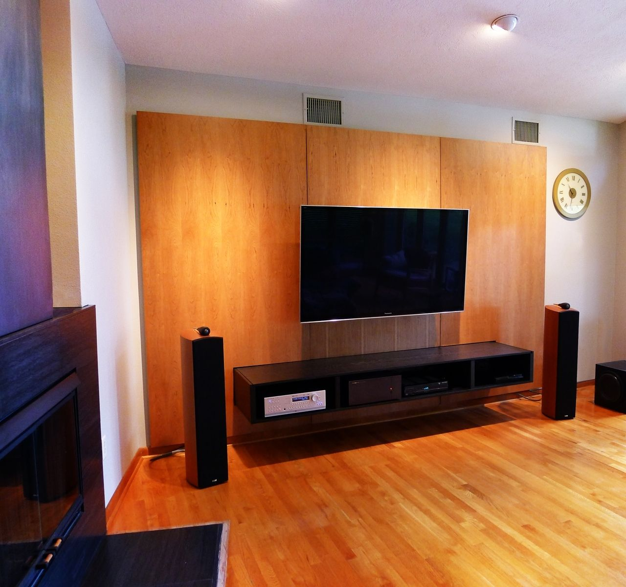 Hanging Media Console Custom Made Media Console Cabinet And Wall Panels By