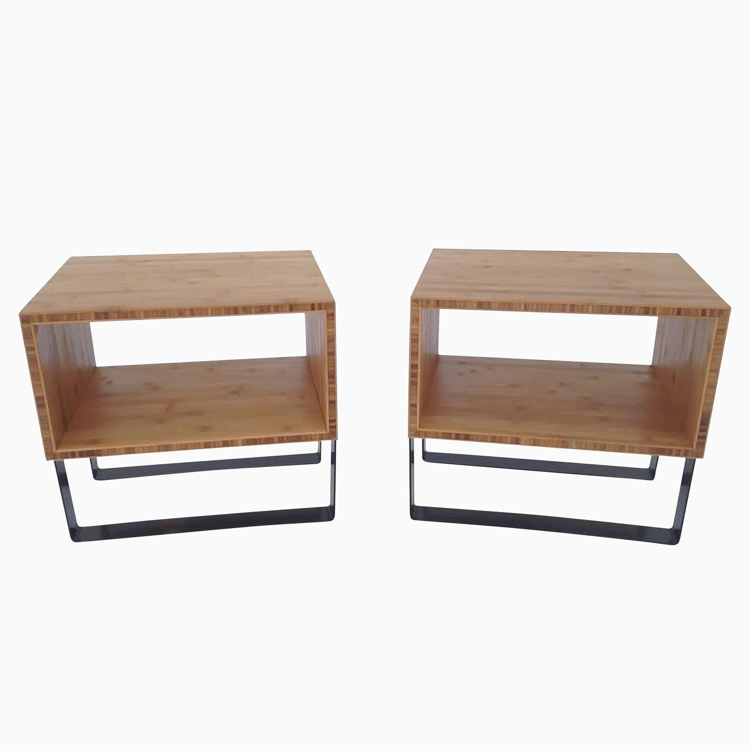 Bedside Tables Modern Buy A Custom Pair Of Open Bedside Tables Mid Century
