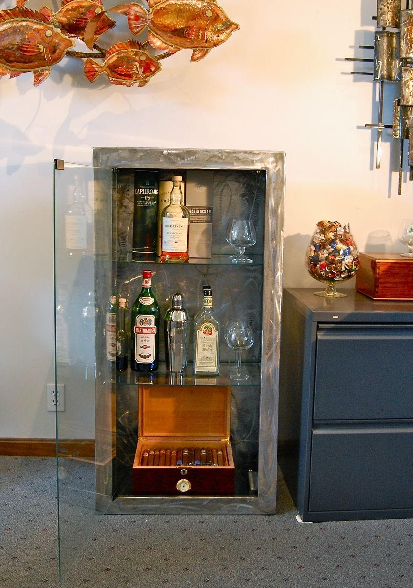 Madecom Hand Made Stainless Steel Liquor And Cigar Cabinet By