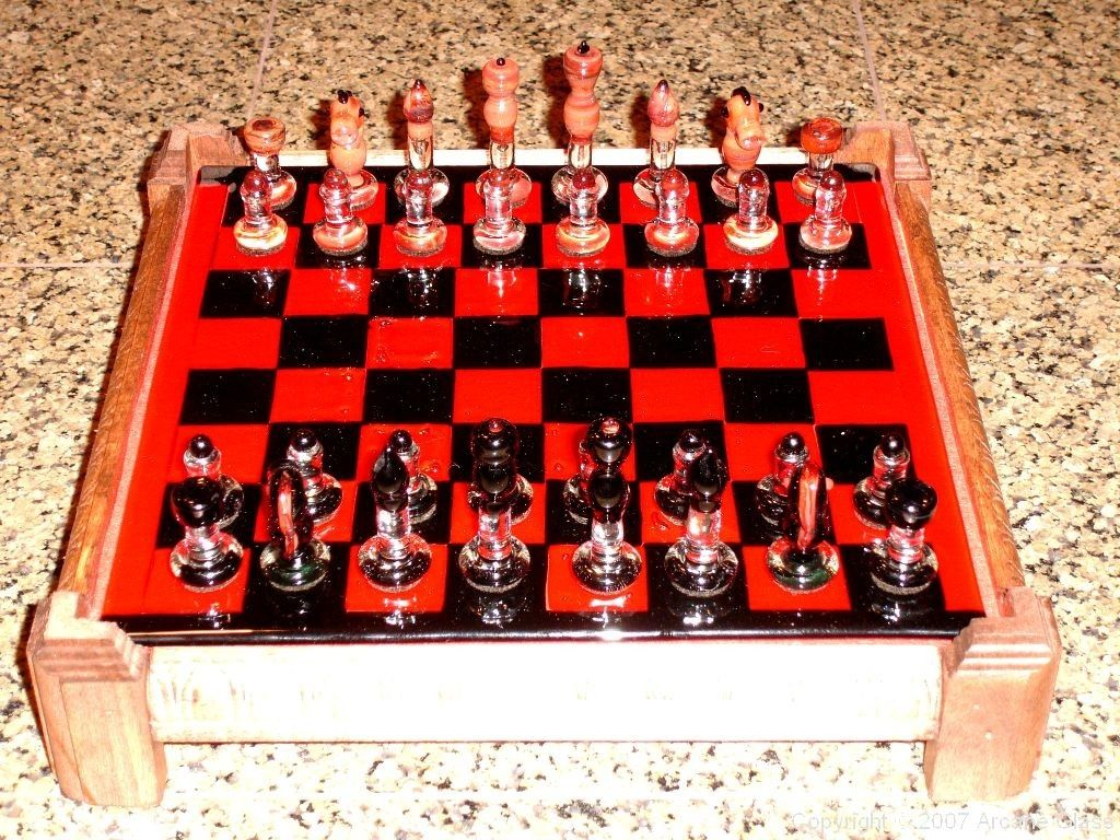 Personalized Chess Set Gift Hand Made Custom Glass Chess Set By Arcane Glass