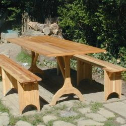 Hand Crafted Shaker Picnic Table and Benches by Oreland Wood