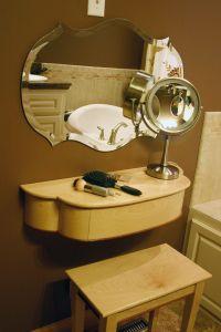 Handmade Petite, Wall Mounted Women's Makeup Vanity With ...