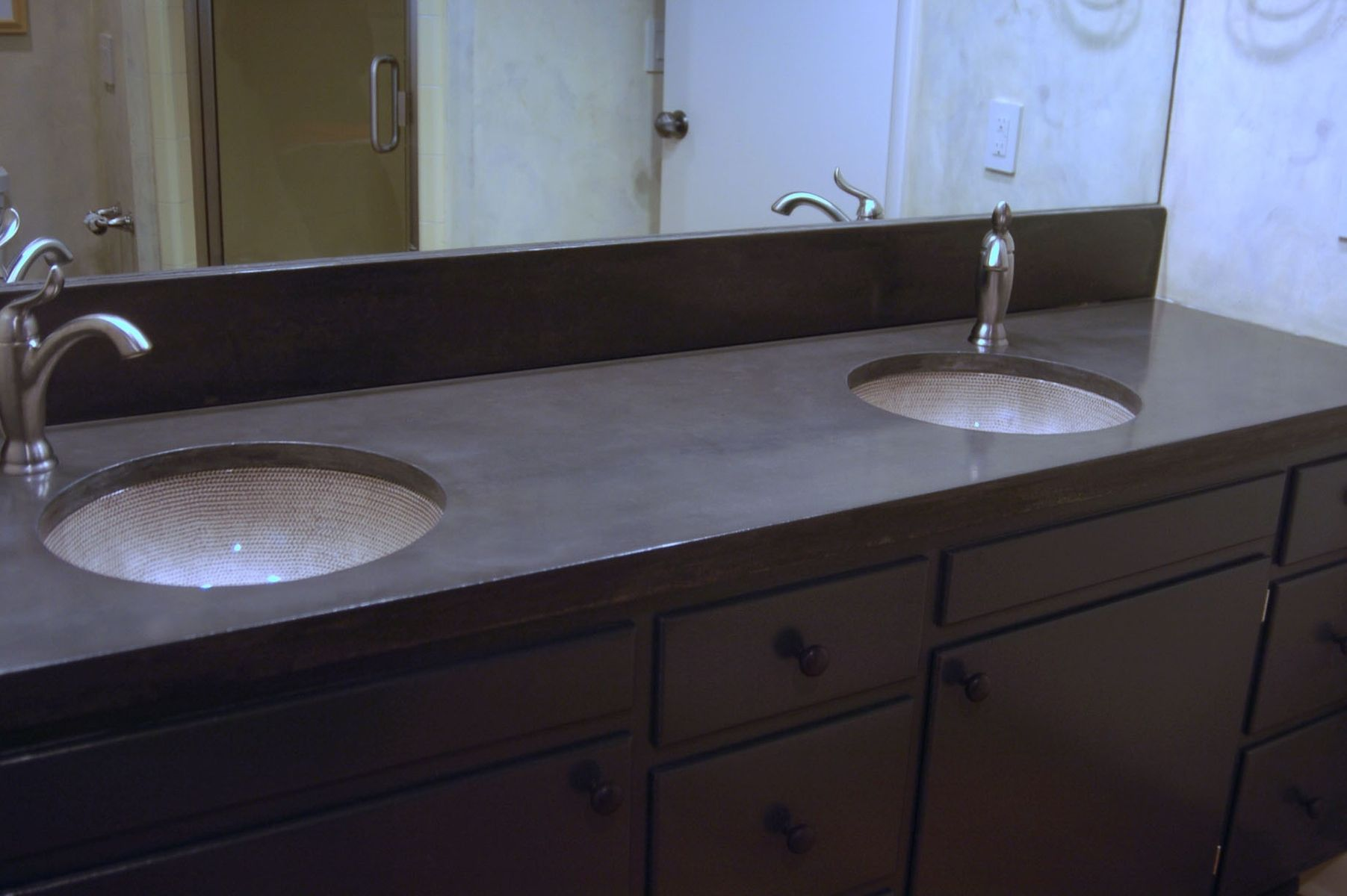 Matching Backsplash To Countertop Hand Crafted Concrete Vanity Countertop With Matching