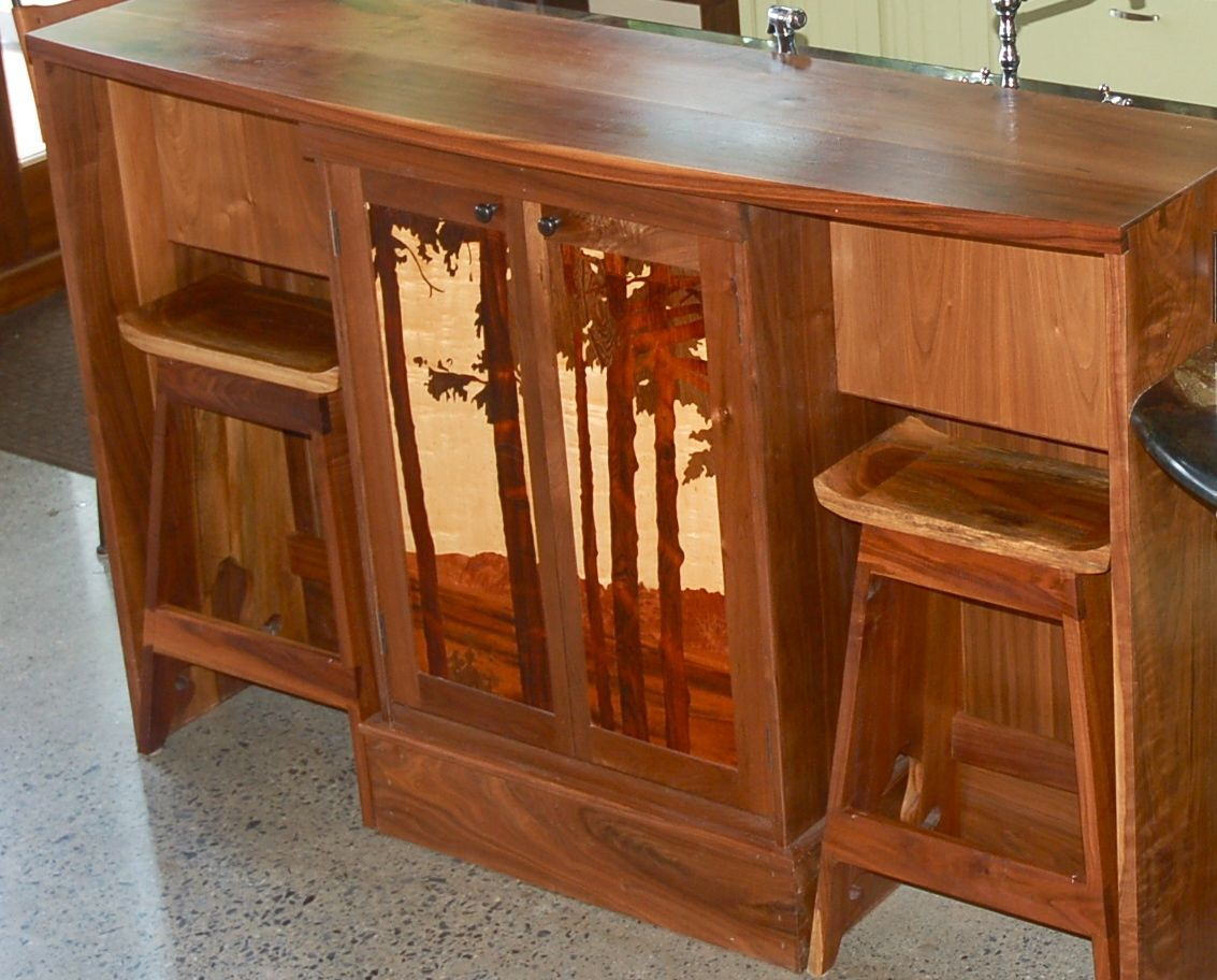 Under Cabinet Lighting Desk Hand Made Custom Claro Walnut Japanese Style Counter
