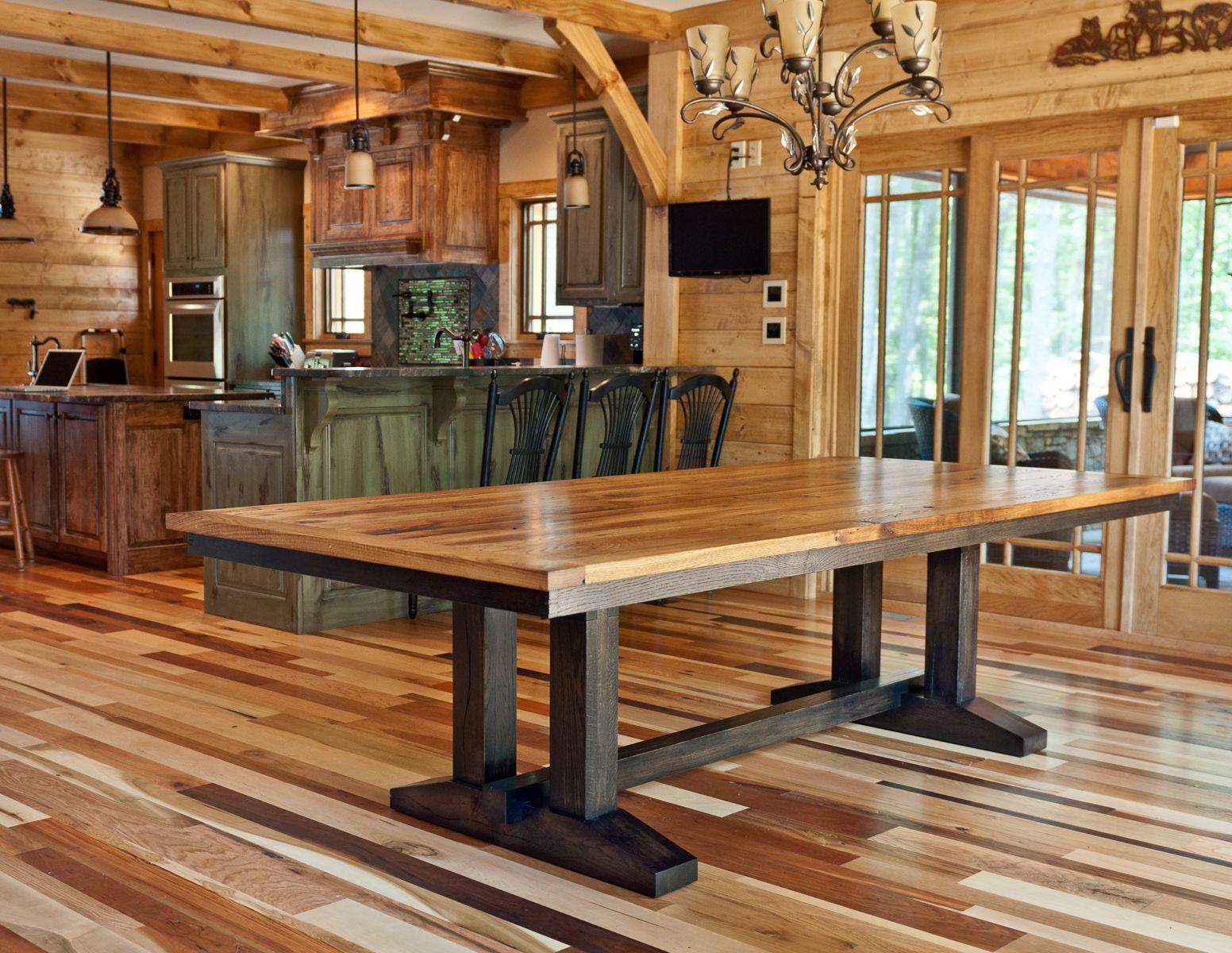 Handmade Wormy Chestnut Trestle Dining Table By Brandmojo