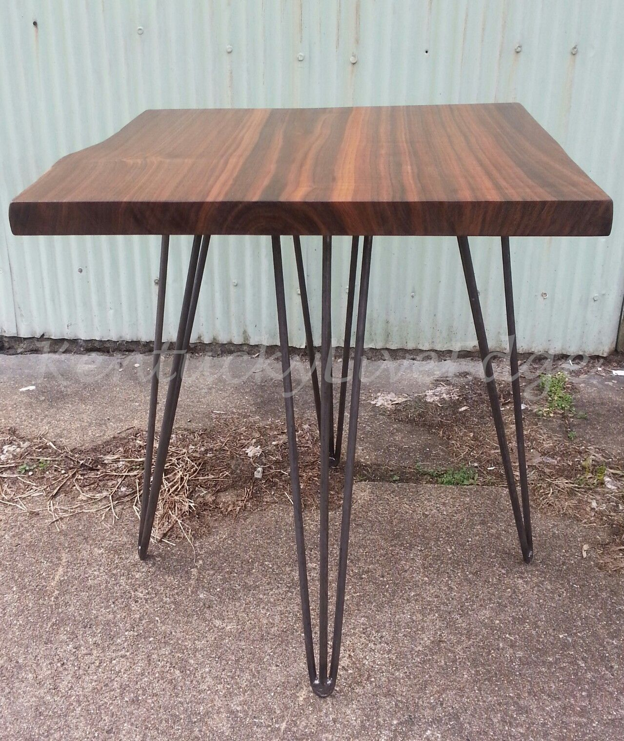 End Tables With Metal Legs Handmade Walnut End Table Side Table Walnut Steel Legs