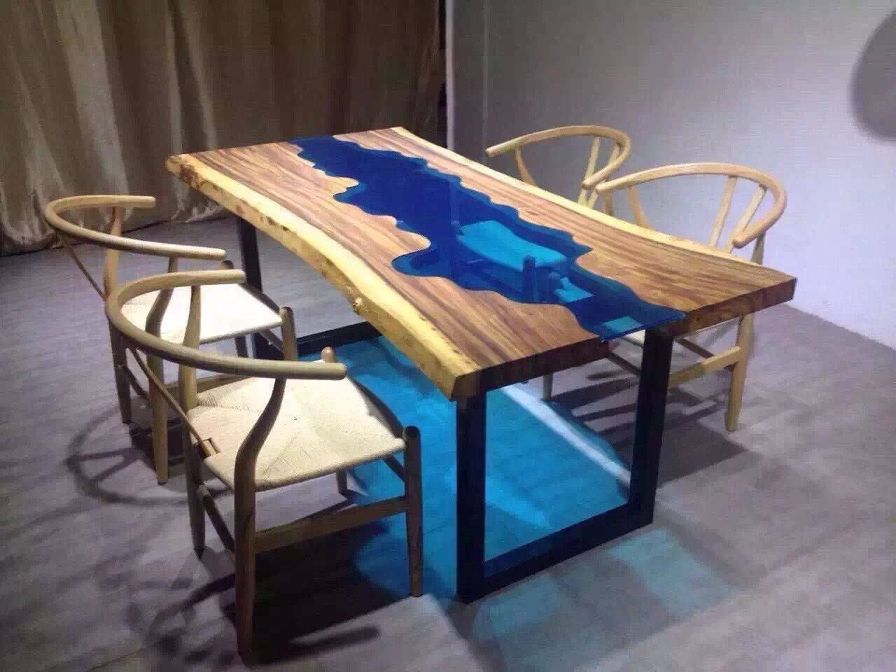 Holztisch Glas Custom Made Acacia Live Edge River Wood And Glass Dining
