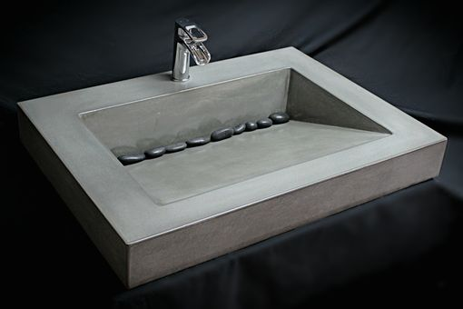 White And Grey Bathroom Handmade Custom Concrete Ramp Sink By The Concrete Sink