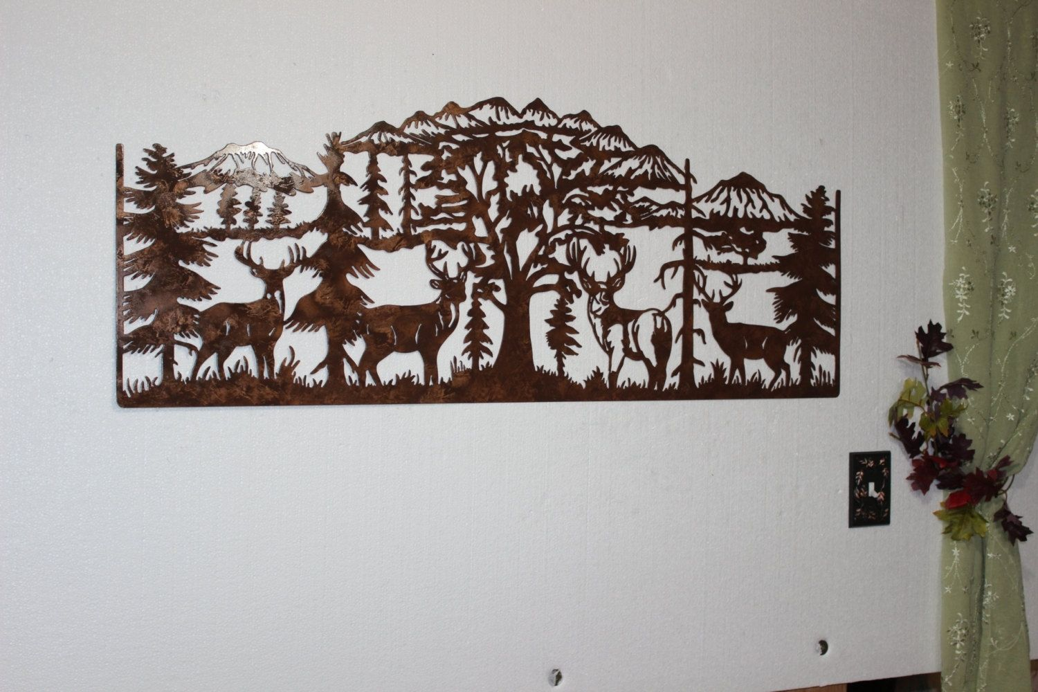 Rustic Outdoor Metal Wall Art Hand Crafted Deer And Mountain Scene With 4 Majestic Bucks