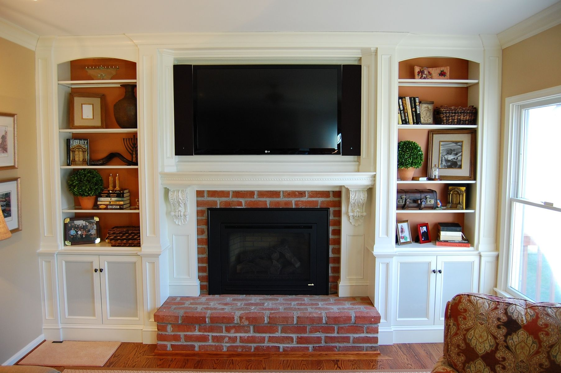 Fireplace Mantel Decor With Tv Custom Over Mantel Tv Cabinetry By Sjk Woodcraft And Design