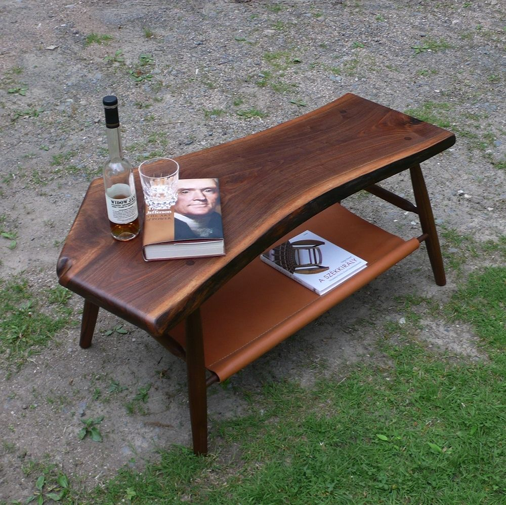 leather coffee table with shelf