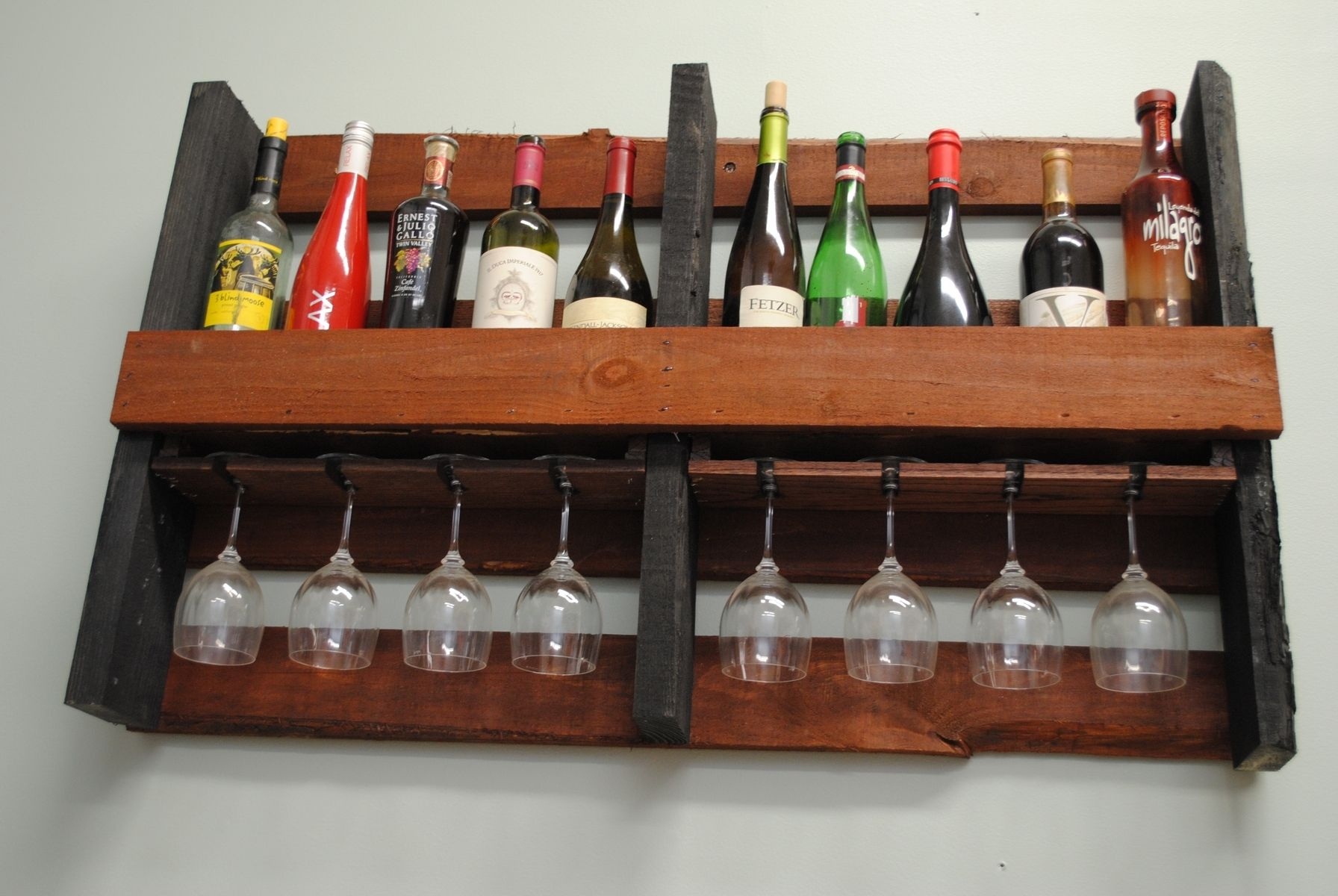 Small Wall Mounted Wine Rack Hand Crafted Wall Mounted Pallet Wine Rack By Shigamasham