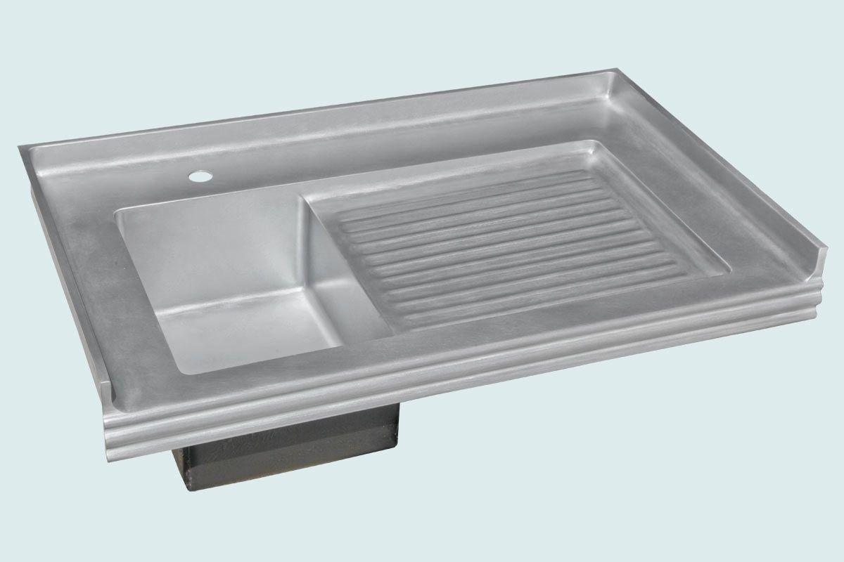 Hand Crafted Zinc Sink With Backsplash Ribbed Drainboard